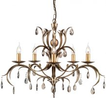 Elstead Lily Antique Bronze Italian Style 5 Light Chandelier Made In Britain