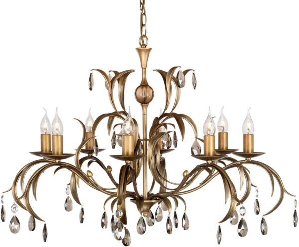 Elstead Lily Italian Style 8 Light Large Chandelier Metallic Bronze