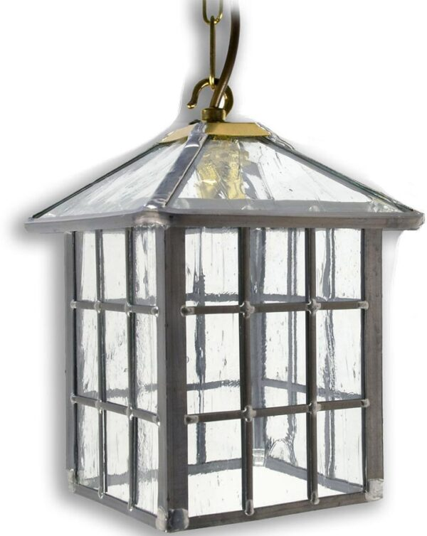 Ludlow Gothic Clear Rippled Leaded Glass Hanging Outdoor Porch Lantern