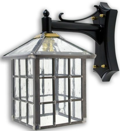 Ludlow Gothic Clear Rippled Leaded Glass Square Outdoor Wall Lantern