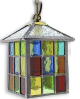 Lynmouth Multi Coloured Stained Glass Hanging Outdoor Porch Lantern