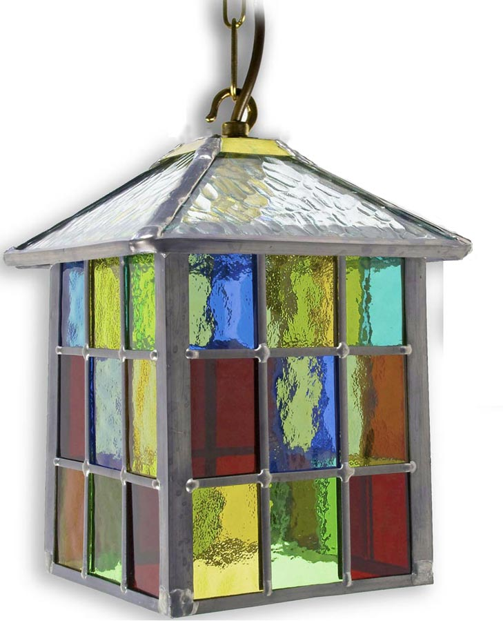 Top Lynmouth Multi Coloured Stained Glass Hanging Outdoor Porch Lantern AS97