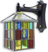 Lynmouth Multi Coloured Stained Glass Square Outdoor Wall Lantern