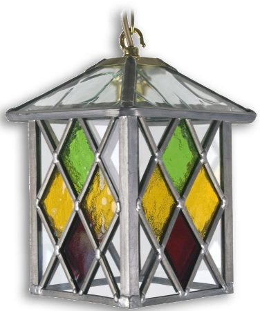 Matlock Multi Coloured Diamond Leaded Glass Hanging Porch Lantern