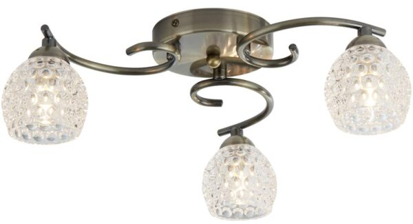Minnie 3 Light Flush Mount Ceiling Light Antique Brass Dimpled Glass