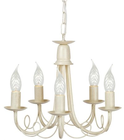 Elstead Minster 5 Light Dual Mount Rustic Chandelier Ivory & Gold
