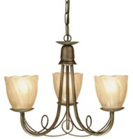 Minster Black And Gold 3 Light Dual Mount Gothic Chandelier