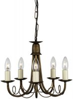 Minster Black And Gold 5 Light Dual Mount Gothic Chandelier