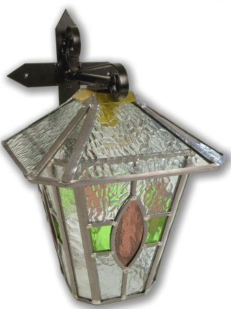 Newquay Large Green / Rose Leaded Glass Outdoor Wall Lantern