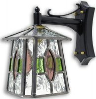 Newquay Green / Rose Leaded Glass Downward Outdoor Wall Lantern