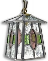 Newquay Green / Rose Stained Glass Hanging Outdoor Porch Lantern