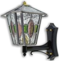 Newquay Green / Rose Leaded Glass Upward Outdoor Wall Lantern