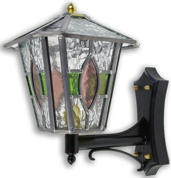 Newquay Green / Rose Leaded Glass Upward Outdoor Wall Lantern