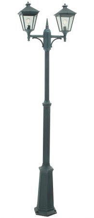 Norlys Turin 2 Lantern Twin Outdoor Lamp Post Verdigris