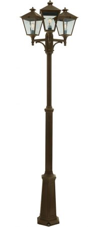 Norlys Turin 3 Lantern Outdoor Lamp Post Black & Gold