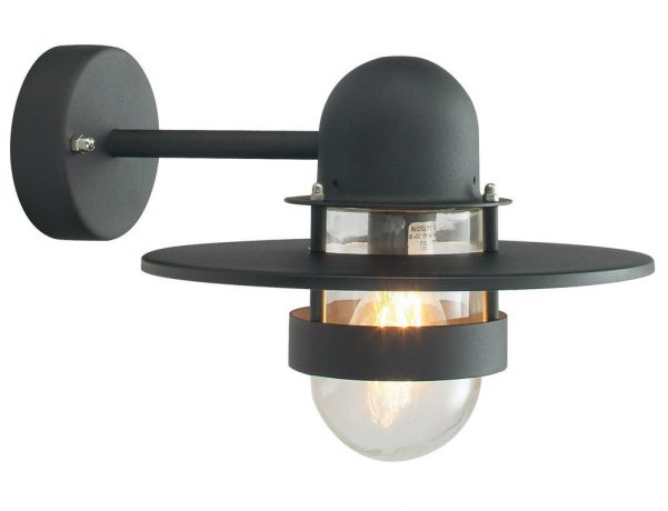 Norlys Bergen 1 Lamp Outdoor Wall Light Black Art Deco Style IP55