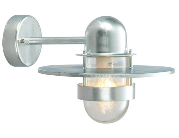 Norlys Bergen 1 Lamp Outdoor Wall Light Galvanised Art Deco Style IP55