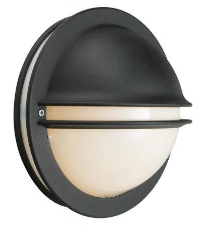 Norlys Berlin 1 Light Outdoor Eyelid Bulkhead Black Opal Glass IP54