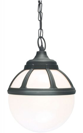 Norlys Bologna Hanging Outdoor Porch Lantern Black Opal Globe IP54