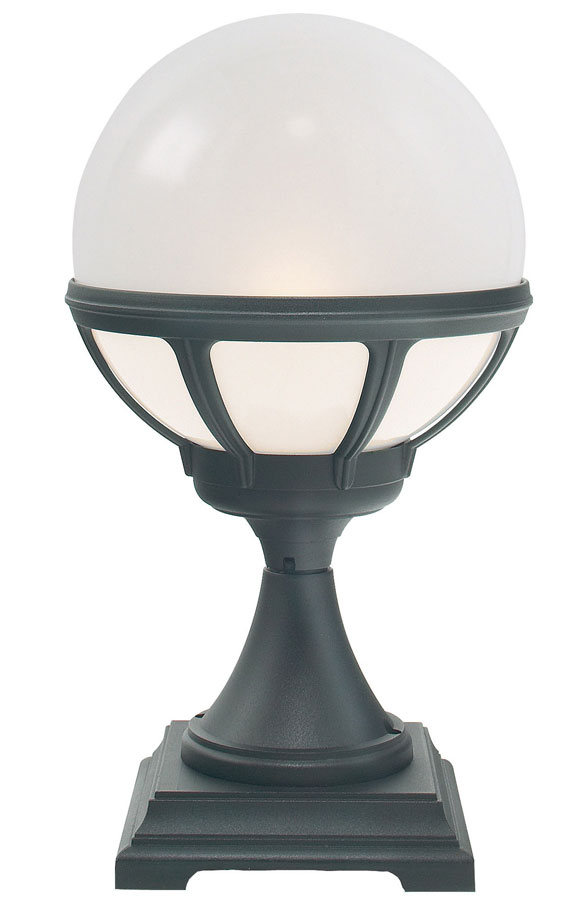 Norlys Bologna Outdoor Pedestal Lantern Black Opal Globe IP54