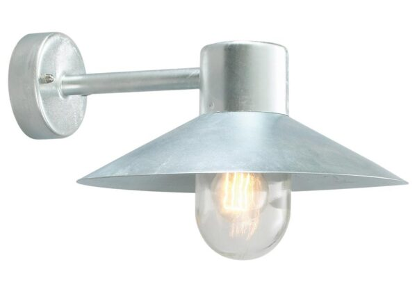 Norlys Lund 1 Lamp Outdoor Wall Light Galvanised IP55