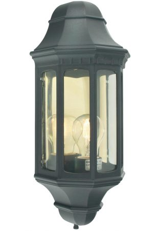 Norlys Malaga Flush Outdoor Wall Lantern Black Traditional
