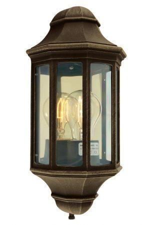 Norlys Malaga Small Flush Outdoor Wall Lantern Black & Gold