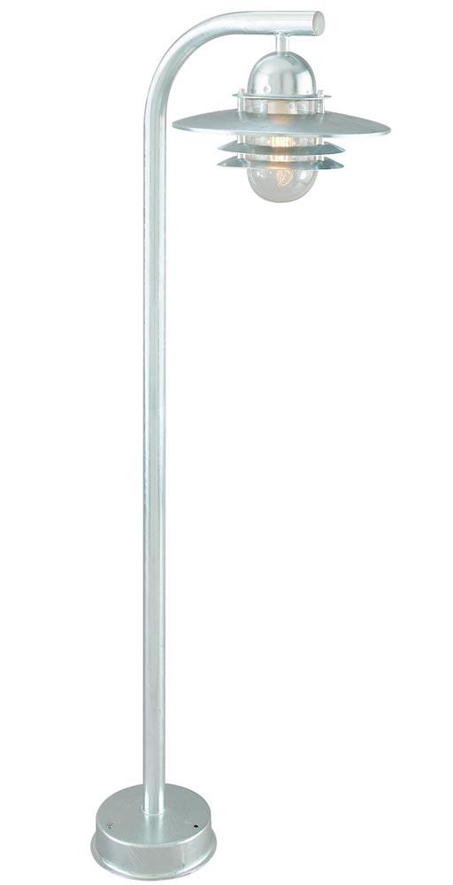 Norlys Oslo Art Deco Style 1 Light Outdoor Post Lantern Galvanised