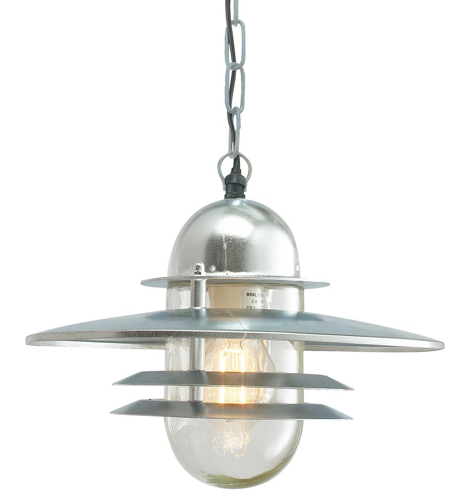 Art Deco Outdoor Hanging Lights: Norlys Oslo Galvanised Art Deco Style Hanging Porch Light