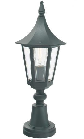 Norlys Rimini 1 Light Outdoor Pedestal Lantern Black Traditional