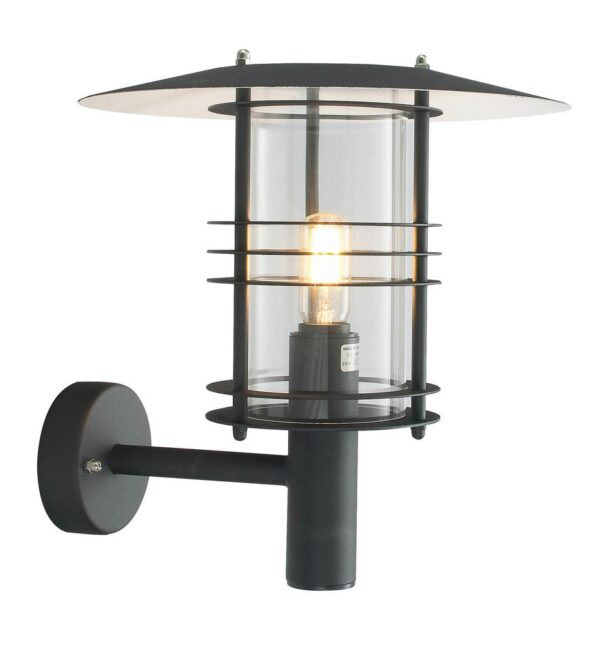 Norlys Stockholm Art Deco Style Black Outdoor Wall Lantern