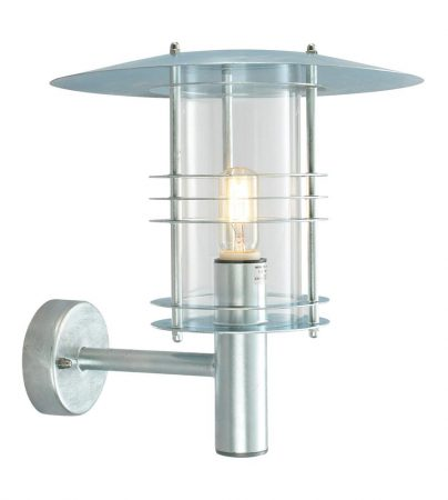 Norlys Stockholm Art Deco Style Galvanised Outdoor Wall Lantern