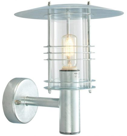 Norlys Stockholm Grande Outdoor Wall Lantern Galvanised Art Deco Style