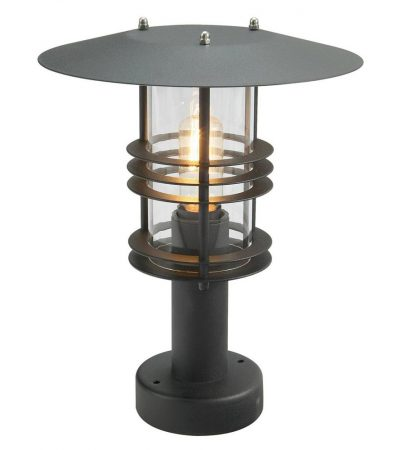 Norlys Stockholm Outdoor Pedestal Lantern Black Art Deco Style