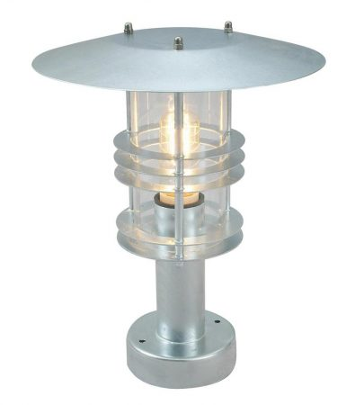Norlys Stockholm Outdoor Pedestal Lantern Galvanised Art Deco Style