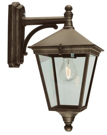Norlys Turin Downward Outdoor Wall Lantern Black & Gold