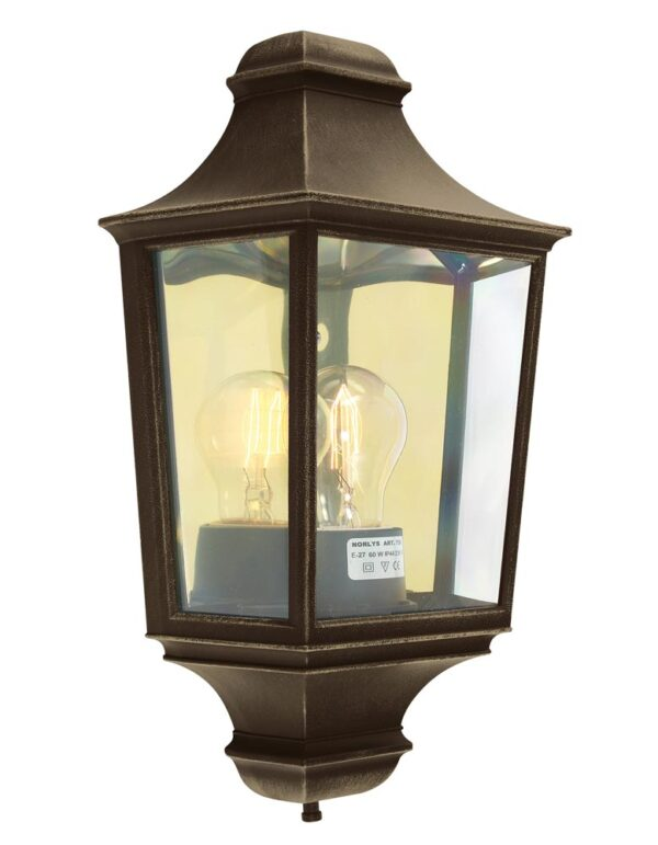 Norlys Turin 1 Light Outdoor Wall Half Lantern Black & Gold
