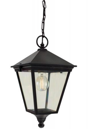 Norlys Turin Hanging Outdoor Porch Lantern Black Traditional