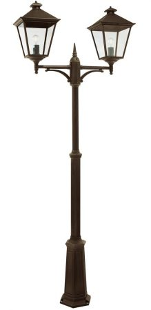 Norlys Turin Grande 2 Lantern Outdoor Lamp Post Black & Gold