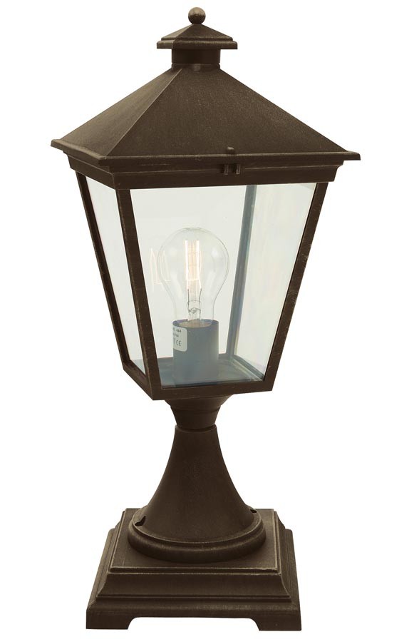 Norlys Turin 1 Light Outdoor Pedestal Lantern Black & Gold