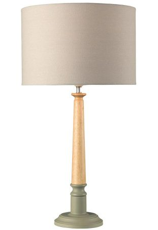 Oslo Traditional Wooden Two Tone Table Lamp Grey Shade