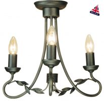 Olivia Black And Gold Ironwork 3 Light Dual Mount Chandelier