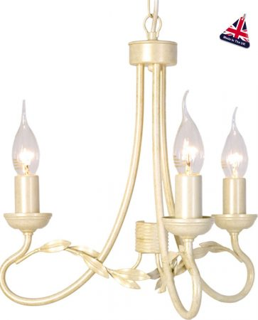 Olivia Ivory And Gold Ironwork 3 Light Dual Mount Chandelier