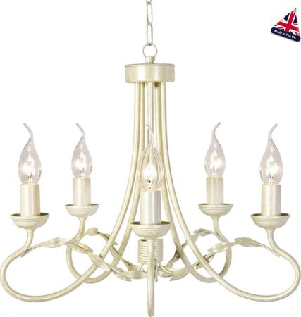 Olivia Ivory And Gold Ironwork 5 Light Dual Mount Chandelier