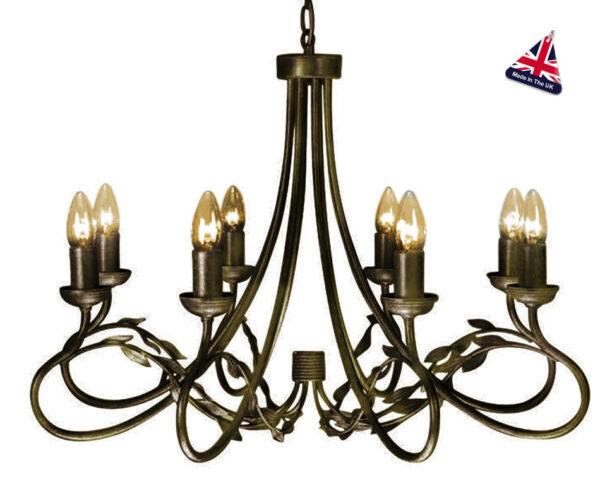 Olivia Large Black And Gold Ironwork 8 Light Chandelier