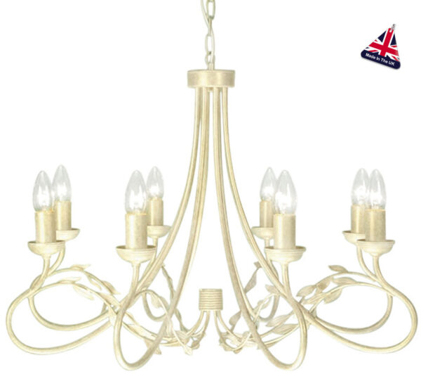 Olivia Large Ivory And Gold Ironwork 8 Light Dual Mount Chandelier