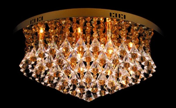 Impex Parma Circular Gold 8 Light Flush Crystal Ceiling Light