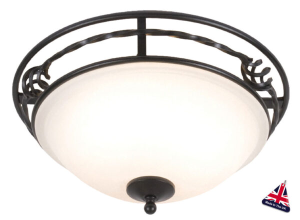 Pembroke Traditional Black Wrought Iron 2 Light Flush Fitting