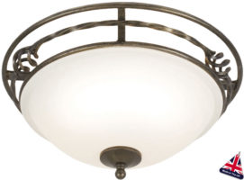 Pembroke Traditional Black And Gold 2 Light Flush Fitting