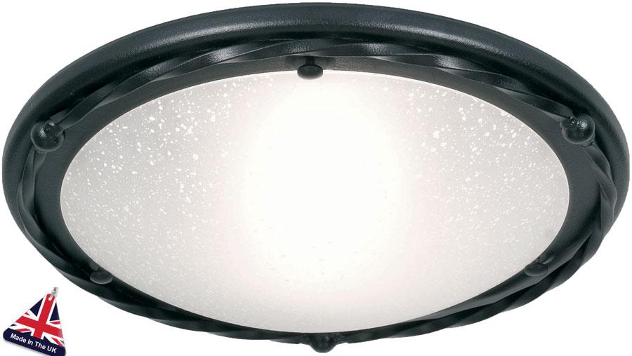 Pembroke Black Wrought Iron Flush Ceiling Light UK Made PBFBBLK